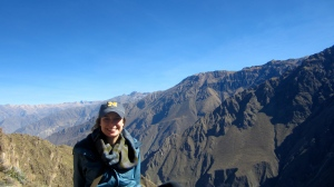 Me at the Canon de Colca, the second deepest canyon in the world. There were 9 condors (a large bird that the Incas worshipped) flying in the canyon that day.