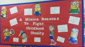 This is a fun way to make parents aware of the prevalence of obesity in the community, while relating to kids' interests!