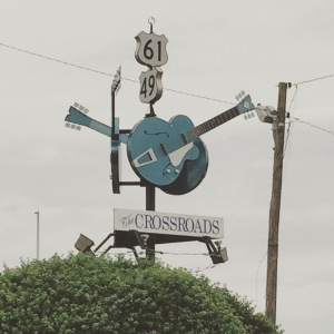 The sign marking the Devil's Crossroads in Clarksdale