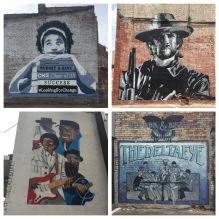 Samples of street art in downtown Clarksdale, painted by local artists as part of the town's revitalization efforts