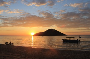 Sunset overlooking Lake Malawi, the