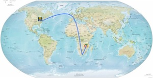 My approximate flight route to Blantyre, Malawi, via Chicago O'Hare, London Heathrow, and Johannesburg OR Tambo, and Blantyre Chileka International Airports.
