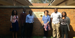 The great Entomology Lab team at the Malaria Alert Centre. (L-R: Anna, Justin, Dr. Themba Me, Jomo, and Chifundo)